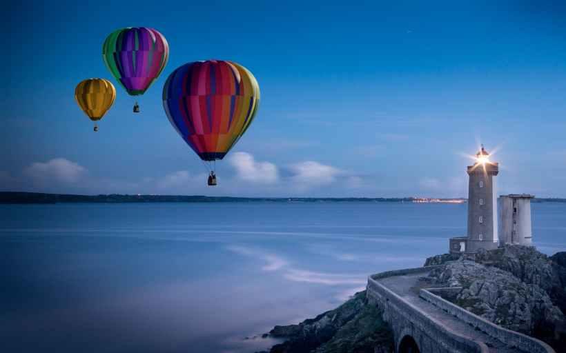 balloon beach clouds coast