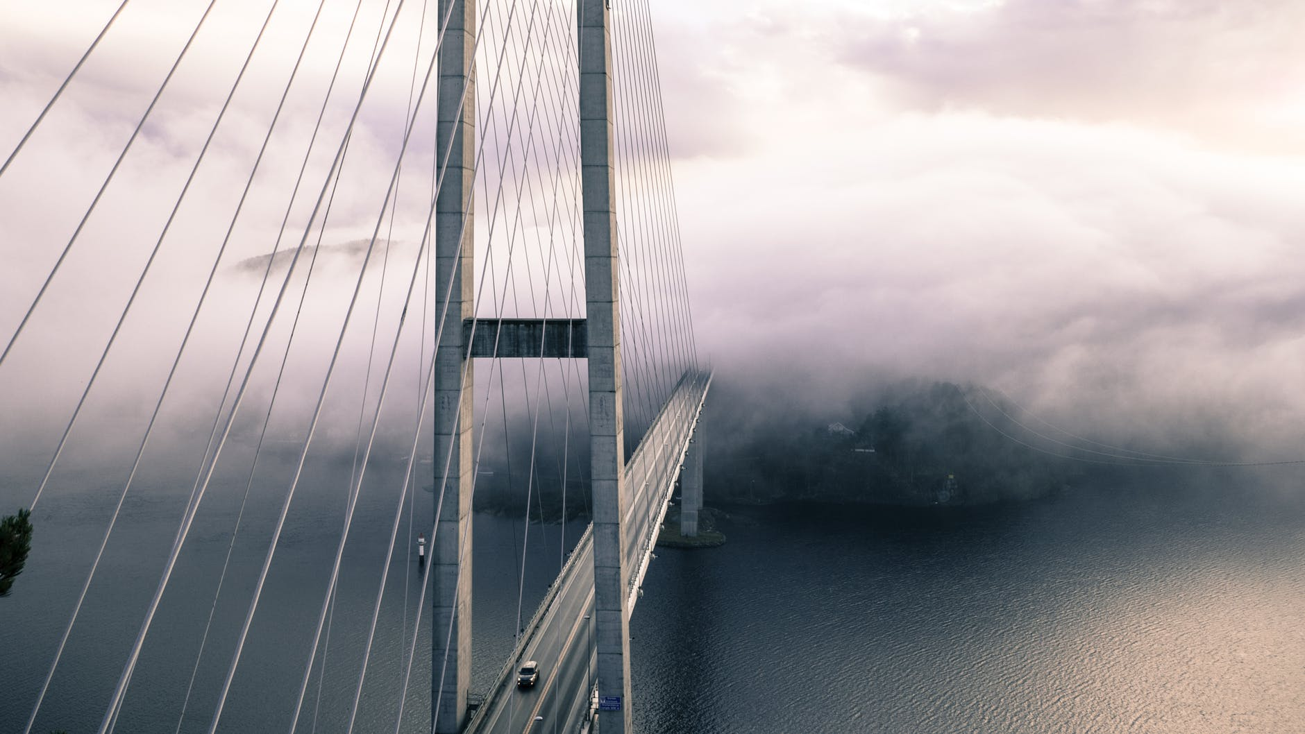 architecture bridge fog ocean